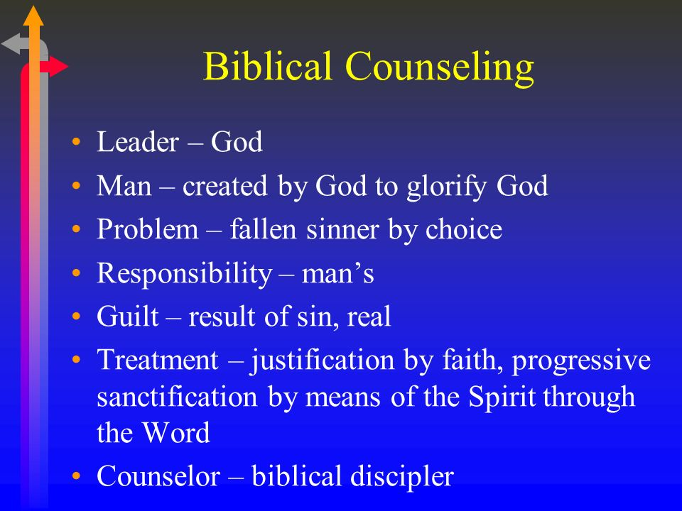 Biblical Counseling Leader – God Man – created by God to glorify God Problem – fallen sinner by choice Responsibility – mans Guilt – result of sin, re