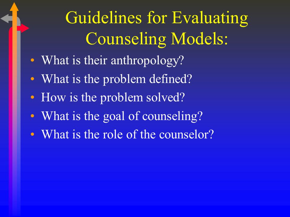 Guidelines for Evaluating Counseling Models: What is their anthropology? What is the problem defined? How is the problem solved? What is the goal of c
