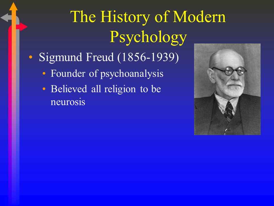 The History of Modern Psychology Sigmund Freud (1856-1939) Founder of psychoanalysis Believed all religion to be neurosis