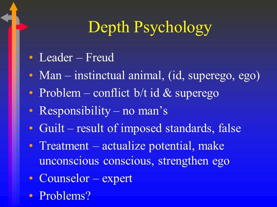 Depth Psychology Leader – Freud Man – instinctual animal, (id, superego, ego) Problem – conflict b/t id & superego Responsibility – no mans Guilt – re