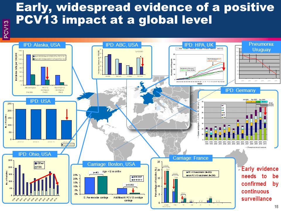 18 These slides have been provided by Pfizer to HCPs for the purposes of medical education 18 Early, widespread evidence of a positive PCV13 impact at
