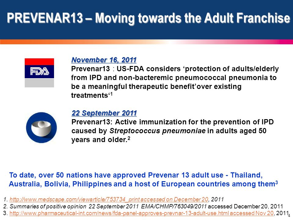 4 22 September 2011 Prevenar13: Active immunization for the prevention of IPD caused by Streptococcus pneumoniae in adults aged 50 years and older. 2