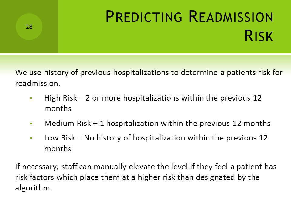 P REDICTING R EADMISSION R ISK 28 We use history of previous hospitalizations to determine a patients risk for readmission. High Risk – 2 or more hosp