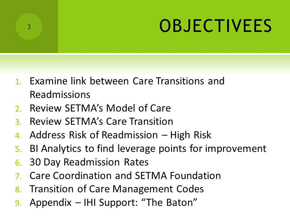 OBJECTIVEES 3 1. Examine link between Care Transitions and Readmissions 2. Review SETMAs Model of Care 3. Review SETMAs Care Transition 4. Address Ris