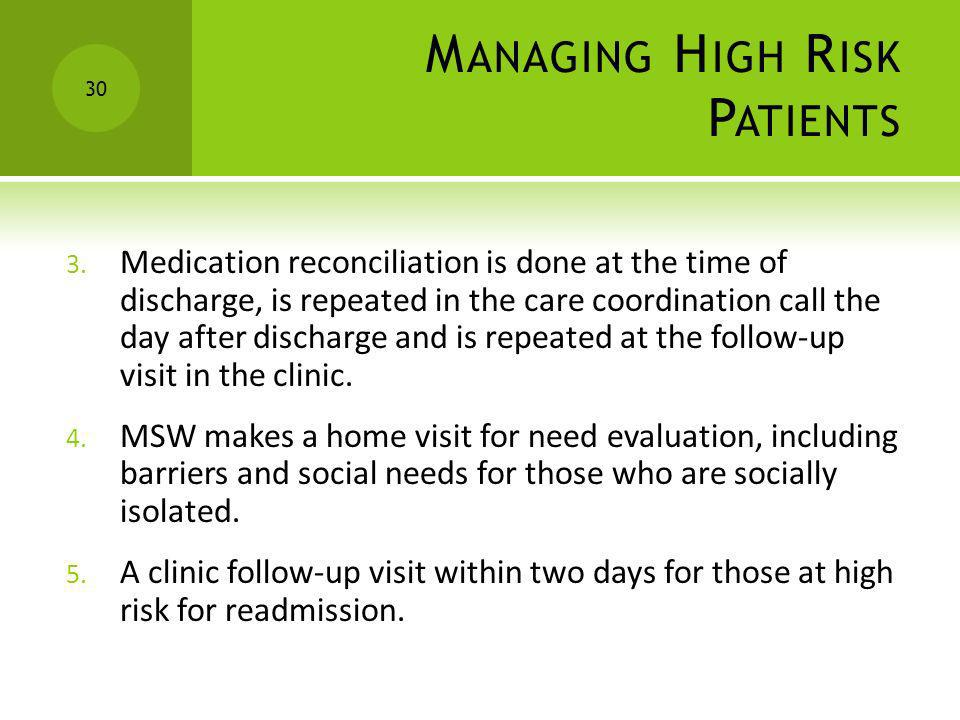 M ANAGING H IGH R ISK P ATIENTS 3. Medication reconciliation is done at the time of discharge, is repeated in the care coordination call the day after