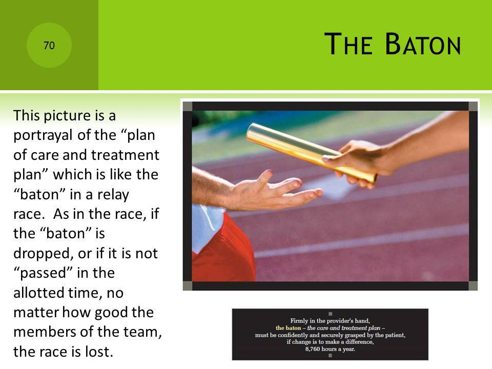 T HE B ATON This picture is a portrayal of the plan of care and treatment plan which is like the baton in a relay race. As in the race, if the baton i