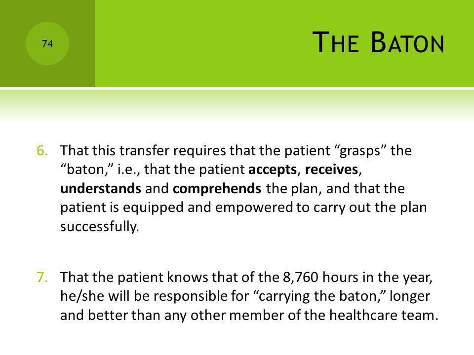 T HE B ATON 6.That this transfer requires that the patient grasps the baton, i.e., that the patient accepts, receives, understands and comprehends the