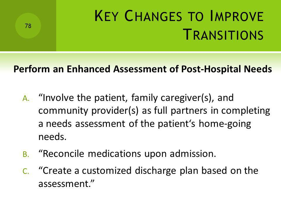 K EY C HANGES TO I MPROVE T RANSITIONS Perform an Enhanced Assessment of Post-Hospital Needs A. Involve the patient, family caregiver(s), and communit