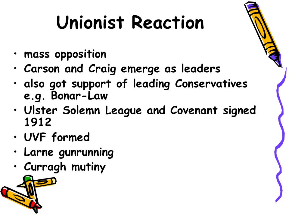 Unionist Reaction mass opposition Carson and Craig emerge as leaders also got support of leading Conservatives e.g.