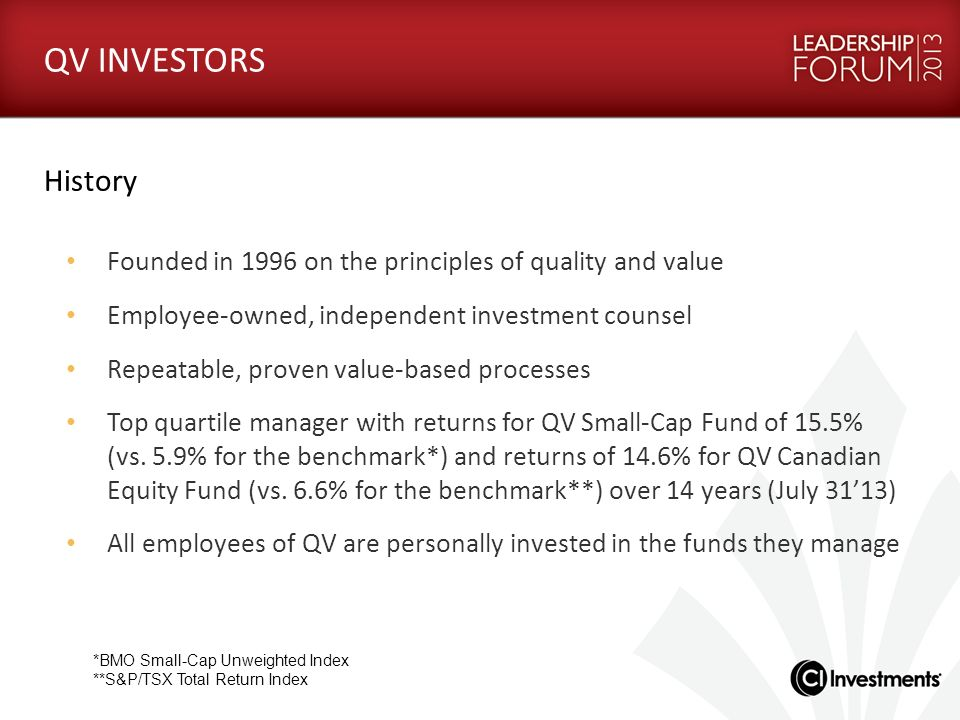 History Founded in 1996 on the principles of quality and value Employee-owned, independent investment counsel Repeatable, proven value-based processes