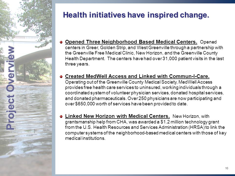 10 Health initiatives have inspired change.