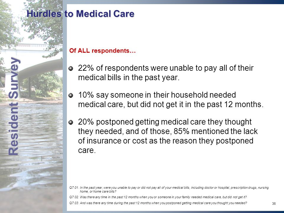 36 Hurdles to Medical Care 22% of respondents were unable to pay all of their medical bills in the past year.