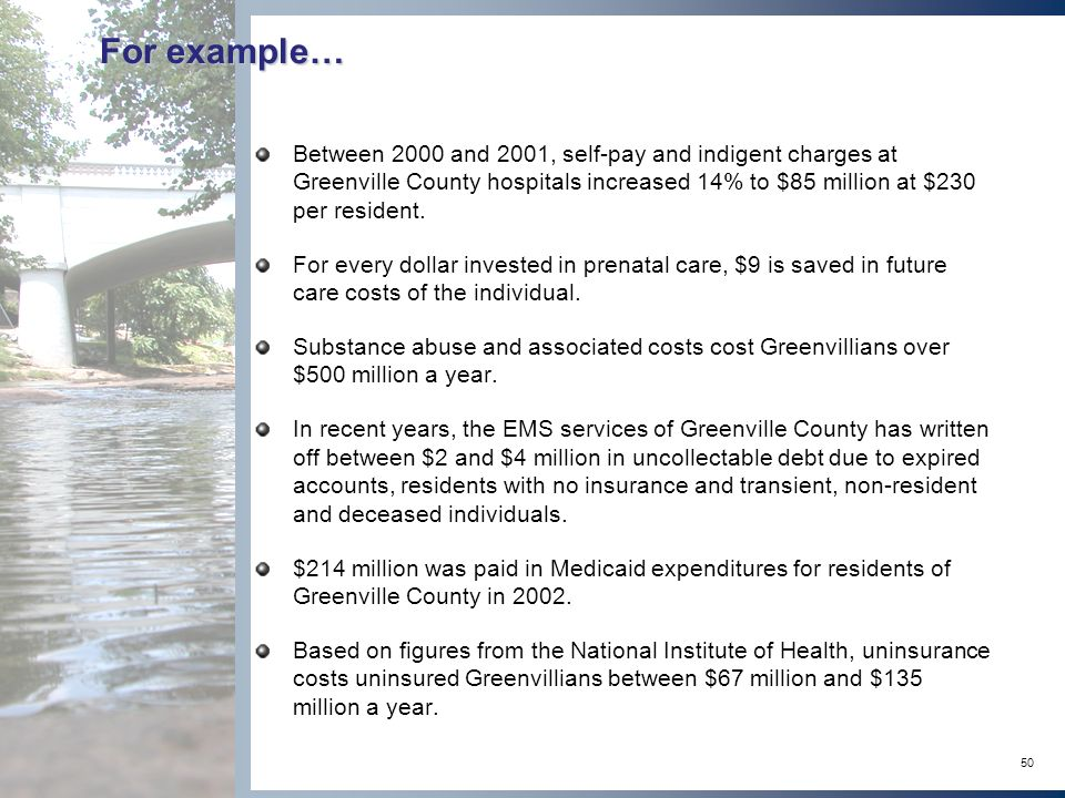 50 For example… Between 2000 and 2001, self-pay and indigent charges at Greenville County hospitals increased 14% to $85 million at $230 per resident.