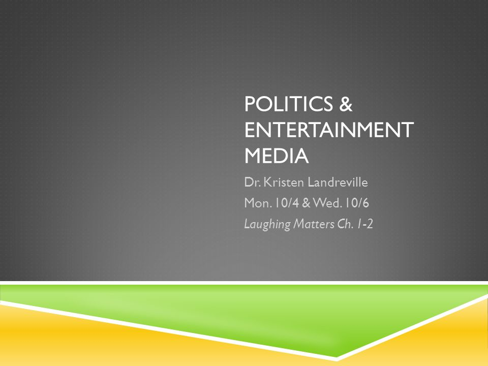 POLITICS & ENTERTAINMENT MEDIA Dr. Kristen Landreville Mon.