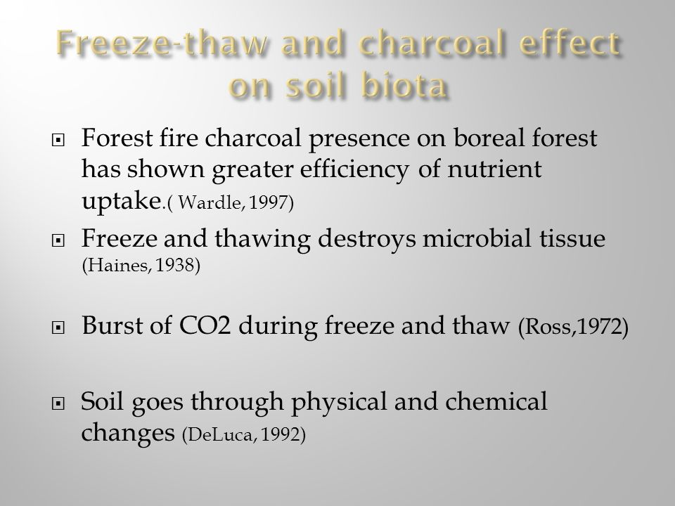 Forest fire charcoal presence on boreal forest has shown greater efficiency of nutrient uptake.( Wardle, 1997) Freeze and thawing destroys microbial t