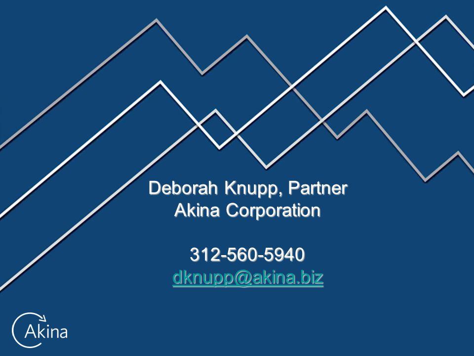 Deborah Knupp, Partner Akina Corporation 312-560-5940 dknupp@akina.biz dknupp@akina.biz