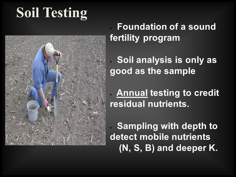 Soil Testing Foundation of a sound fertility program Soil analysis is only as good as the sample Annual testing to credit residual nutrients. Sampling