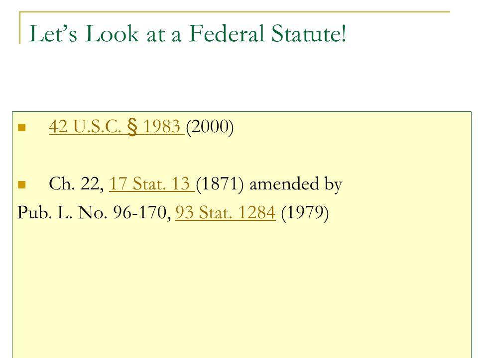 Lets Look at a Federal Statute. 42 U.S.C. § 1983 (2000) 42 U.S.C.