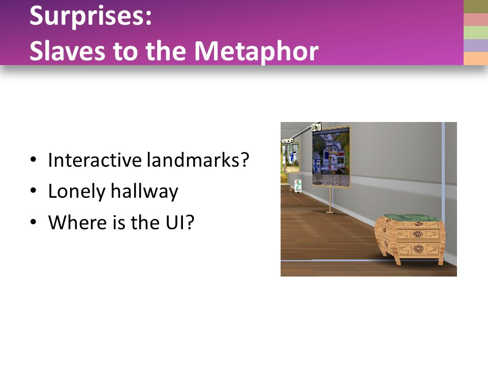 Surprises: Slaves to the Metaphor Interactive landmarks Lonely hallway Where is the UI