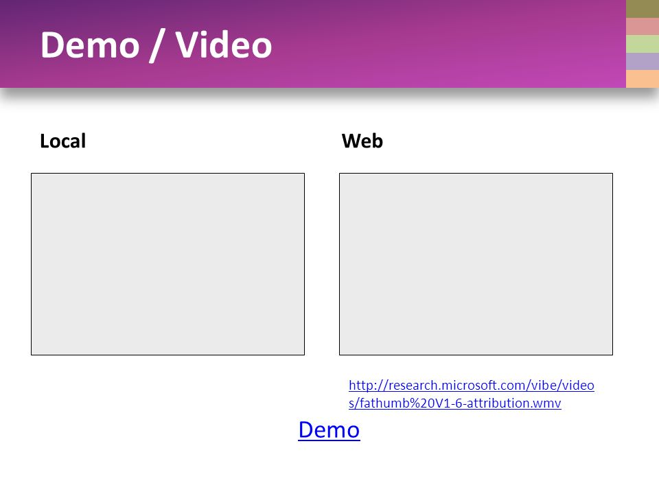 Demo / Video LocalWeb Demo http://research.microsoft.com/vibe/video s/fathumb%20V1-6-attribution.wmv