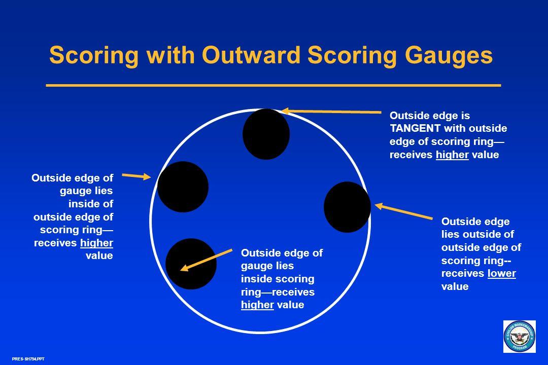 PRES-SH794.PPT Scoring with Outward Scoring Gauges Outside edge lies outside of outside edge of scoring ring-- receives lower value Outside edge is TA