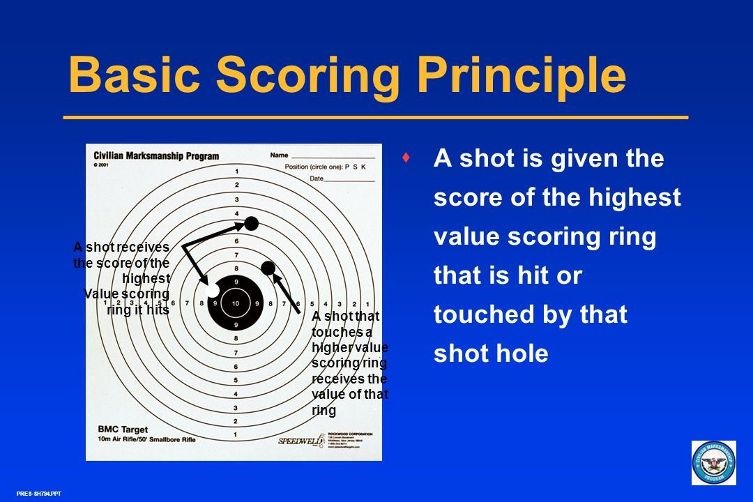 PRES-SH794.PPT Basic Scoring Principle sA shot is given the score of the highest value scoring ring that is hit or touched by that shot hole A shot re