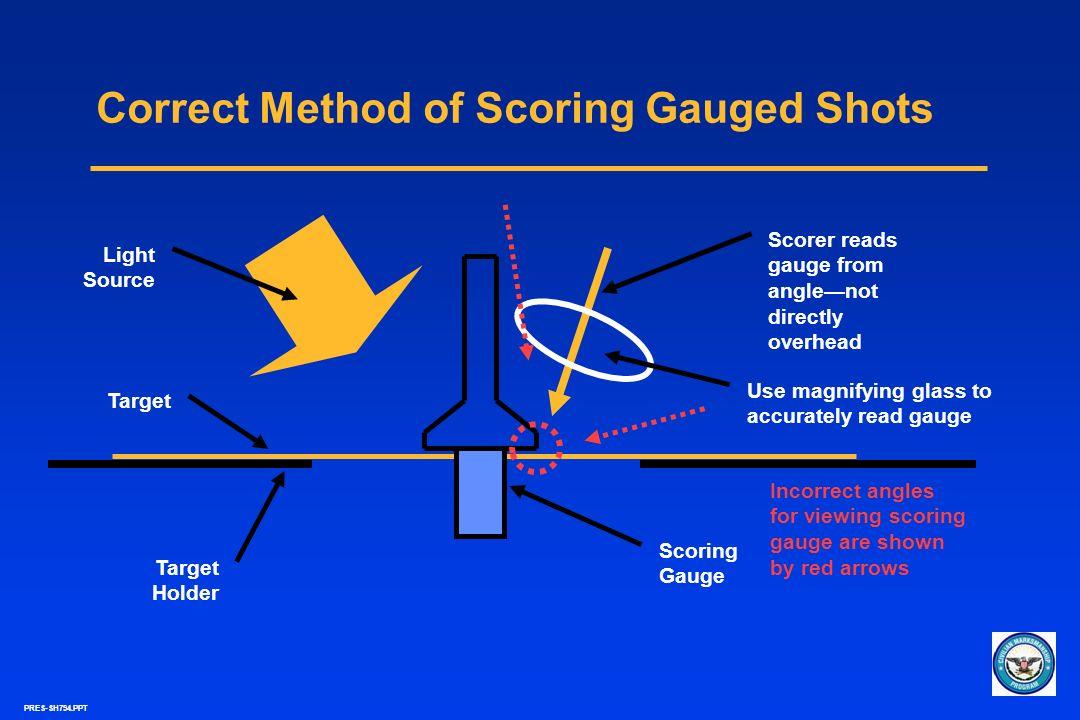 PRES-SH794.PPT Correct Method of Scoring Gauged Shots Light Source Target Holder Scoring Gauge Scorer reads gauge from anglenot directly overhead Use