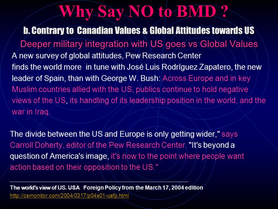 Why Say NO to BMD ? b. Contrary to Canadian Values & Global Attitudes towards US Deeper military integration with US goes vs Global Values A new surve