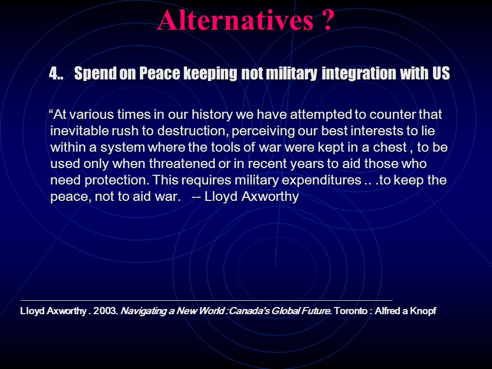 Alternatives ? Spend on Peace keeping not military integration with US 4.. Spend on Peace keeping not military integration with US At various times in