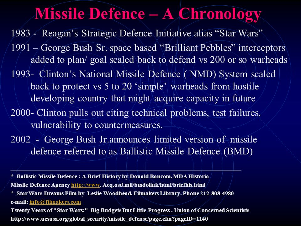 Missile Defence – A Chronology 1983 - Reagans Strategic Defence Initiative alias Star Wars 1991 – George Bush Sr. space based Brilliant Pebbles interc