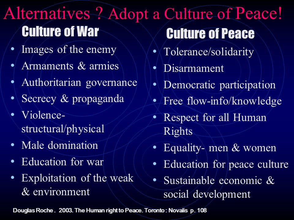 Alternatives ? Adopt a Culture of Peace! Culture of War Images of the enemy Armaments & armies Authoritarian governance Secrecy & propaganda Violence-
