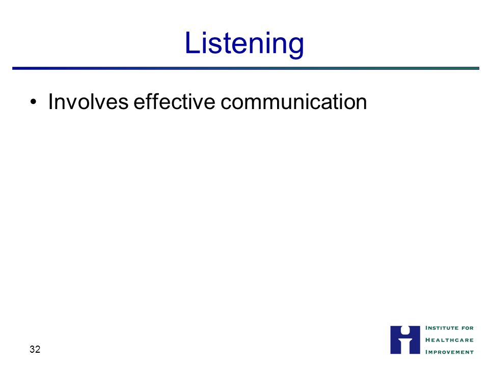 Listening Involves effective communication 32