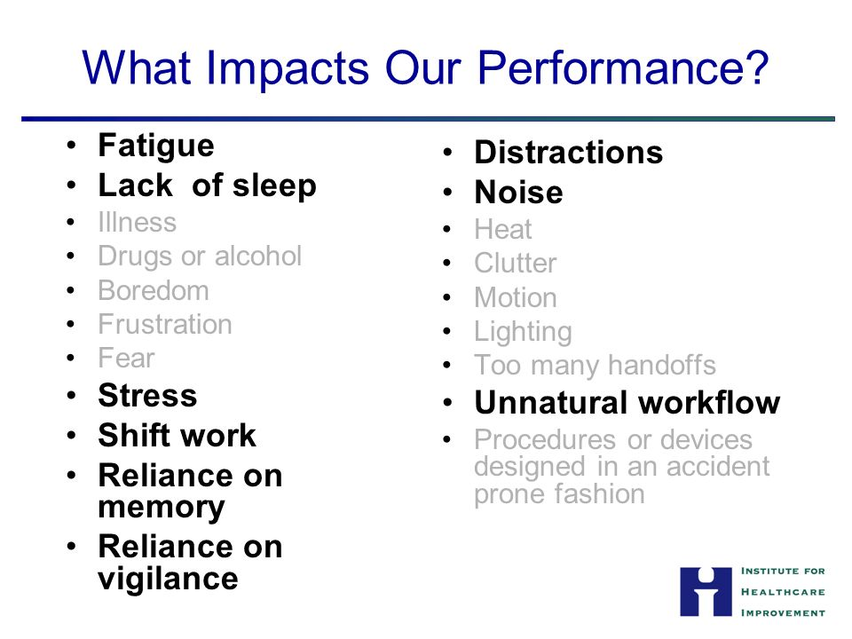 What Impacts Our Performance.