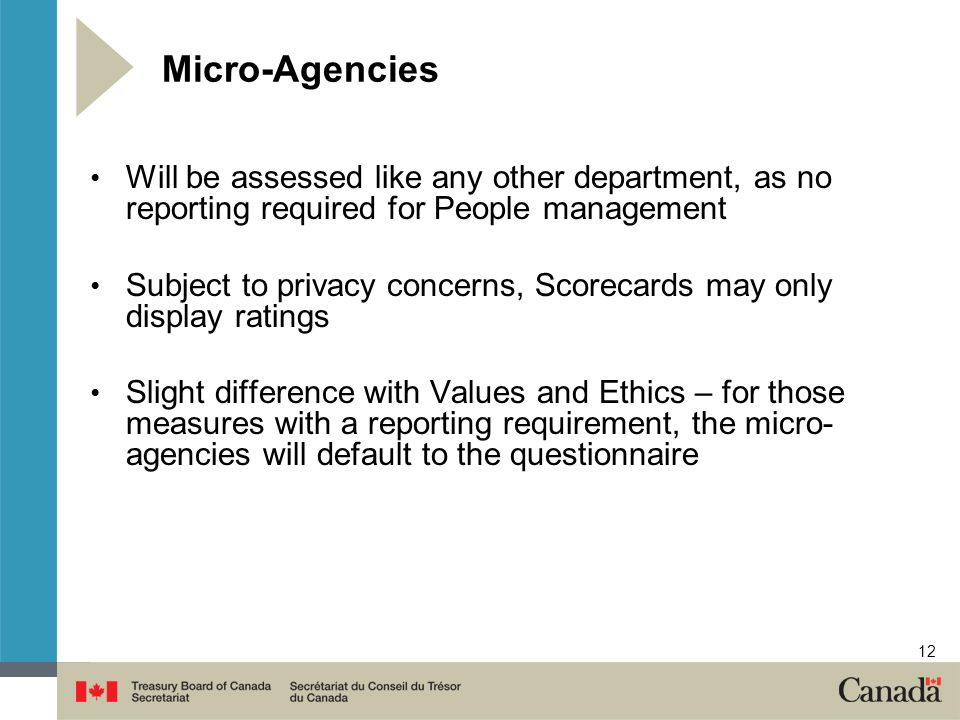 12 Micro-Agencies Will be assessed like any other department, as no reporting required for People management Subject to privacy concerns, Scorecards may only display ratings Slight difference with Values and Ethics – for those measures with a reporting requirement, the micro- agencies will default to the questionnaire