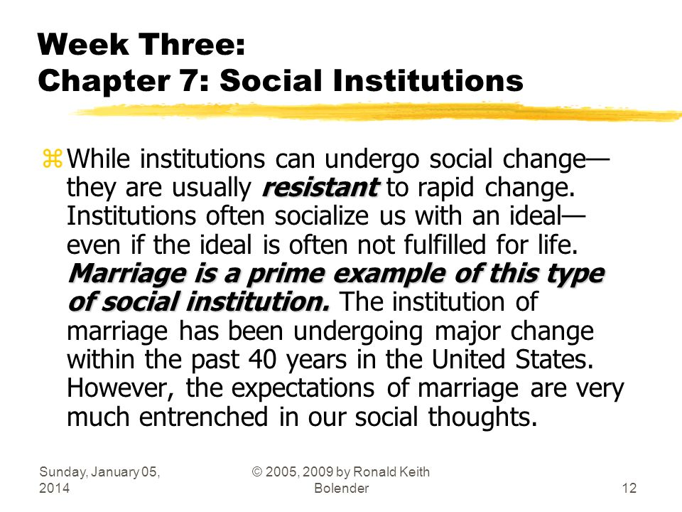 Sunday, January 05, 2014 © 2005, 2009 by Ronald Keith Bolender12 Week Three: Chapter 7: Social Institutions resistant Marriage is a prime example of this type of social institution.