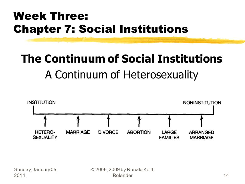 Sunday, January 05, 2014 © 2005, 2009 by Ronald Keith Bolender14 Week Three: Chapter 7: Social Institutions The Continuum of Social Institutions A Continuum of Heterosexuality