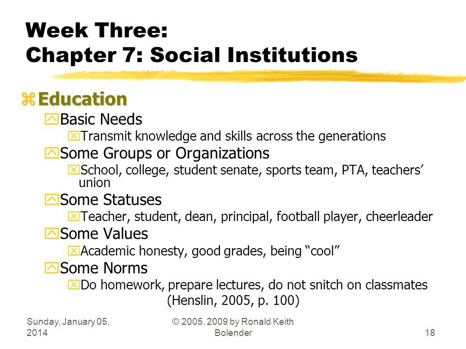 Sunday, January 05, 2014 © 2005, 2009 by Ronald Keith Bolender18 Week Three: Chapter 7: Social Institutions zEducation yBasic Needs xTransmit knowledg