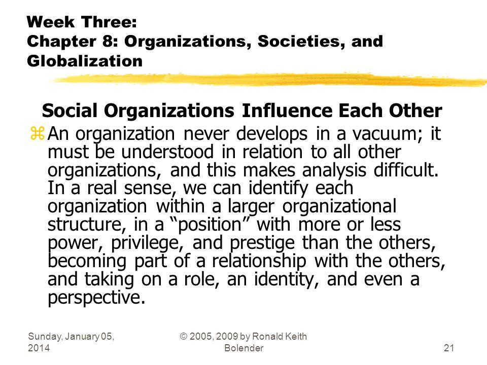 Sunday, January 05, 2014 © 2005, 2009 by Ronald Keith Bolender21 Week Three: Chapter 8: Organizations, Societies, and Globalization Social Organizatio