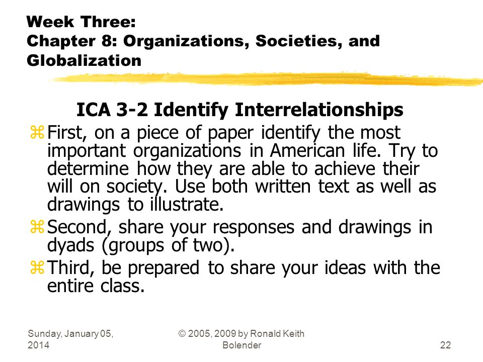Sunday, January 05, 2014 © 2005, 2009 by Ronald Keith Bolender22 Week Three: Chapter 8: Organizations, Societies, and Globalization ICA 3-2 Identify I