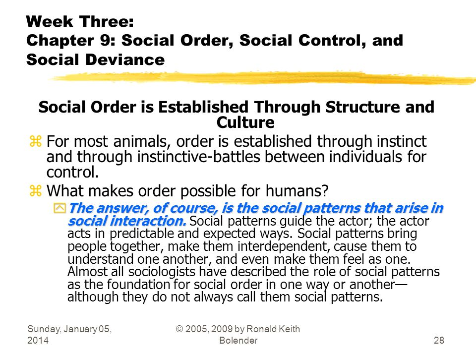 Sunday, January 05, 2014 © 2005, 2009 by Ronald Keith Bolender28 Week Three: Chapter 9: Social Order, Social Control, and Social Deviance Social Order