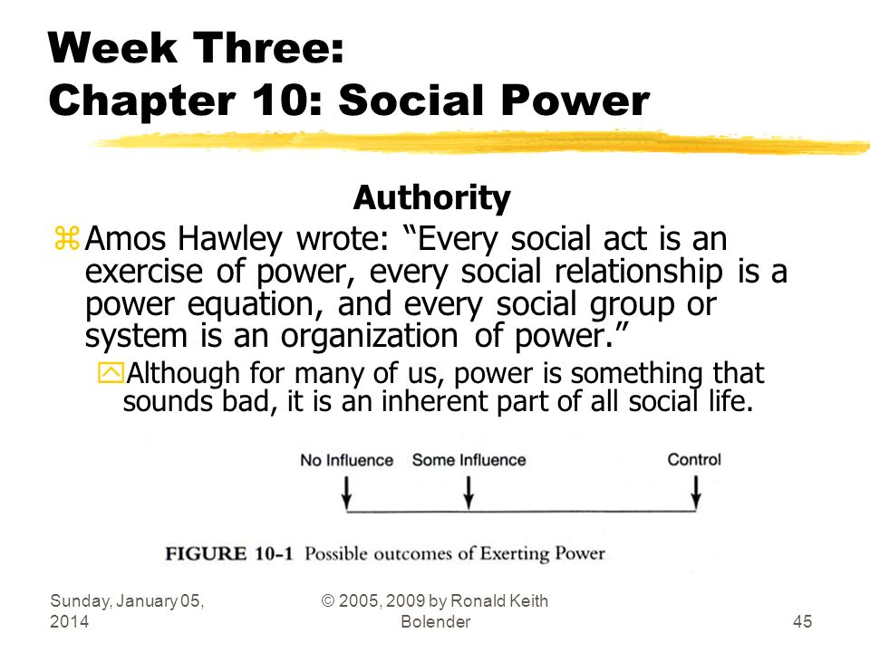 Sunday, January 05, 2014 © 2005, 2009 by Ronald Keith Bolender45 Week Three: Chapter 10: Social Power Authority zAmos Hawley wrote: Every social act is an exercise of power, every social relationship is a power equation, and every social group or system is an organization of power.