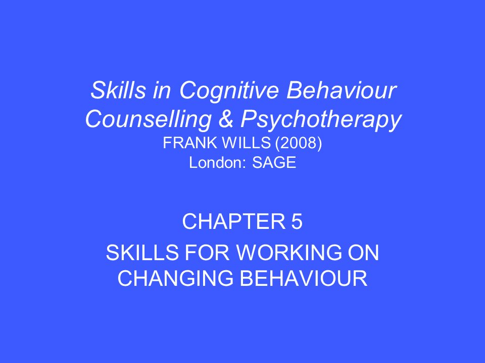 1.Behavioural focus in CBT The influence of behaviour on emotion.