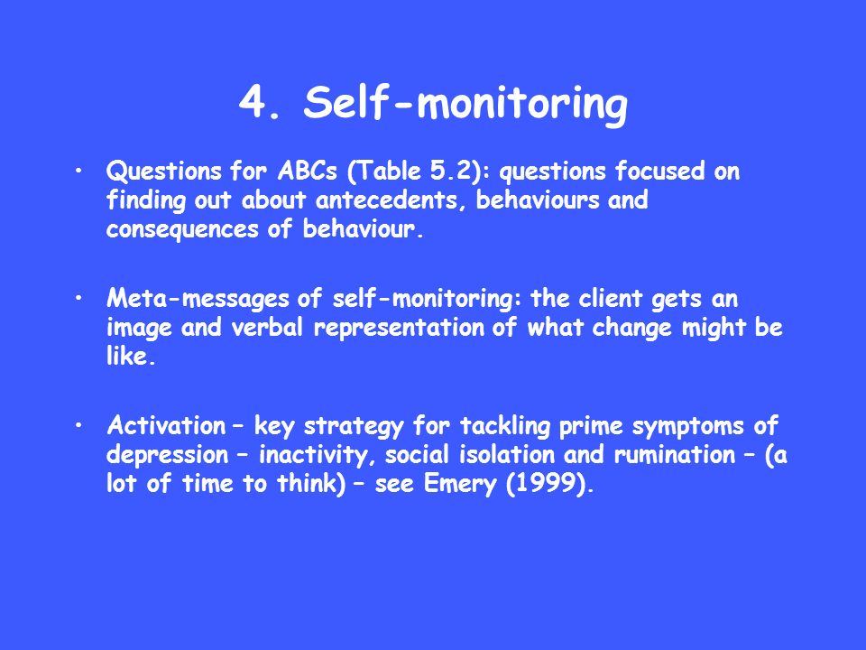 4. Self-monitoring Questions for ABCs (Table 5.2): questions focused on finding out about antecedents, behaviours and consequences of behaviour. Meta-