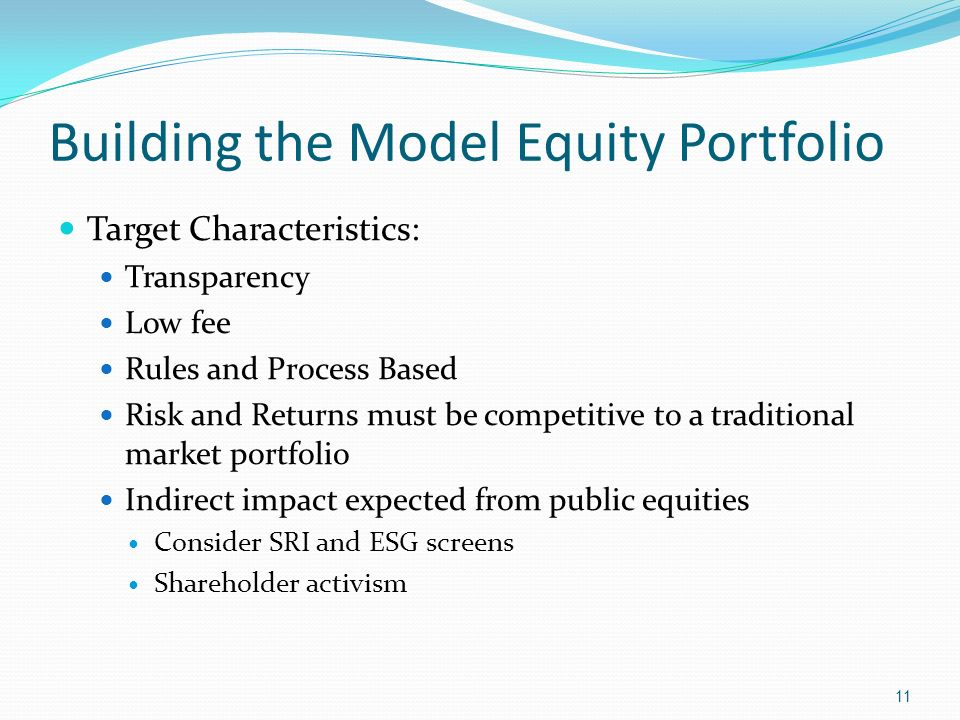 Building the Model Equity Portfolio Target Characteristics: Transparency Low fee Rules and Process Based Risk and Returns must be competitive to a tra