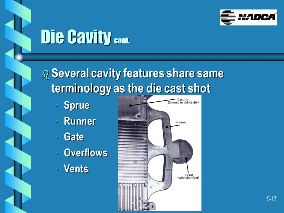 5-17 Die Cavity cont. b Several cavity features share same terminology as the die cast shot Sprue Sprue Runner Runner Gate Gate Overflows Overflows Ve