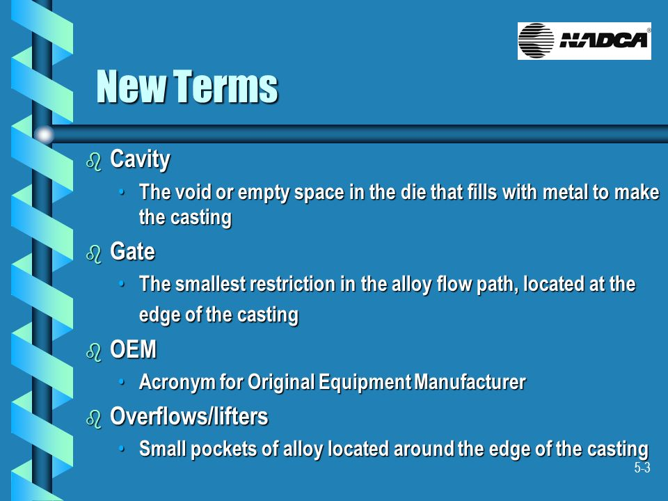 5-3 New Terms b Cavity The void or empty space in the die that fills with metal to make the casting The void or empty space in the die that fills with
