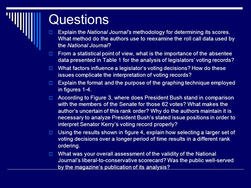 Questions Explain the National Journal s methodology for determining its scores.