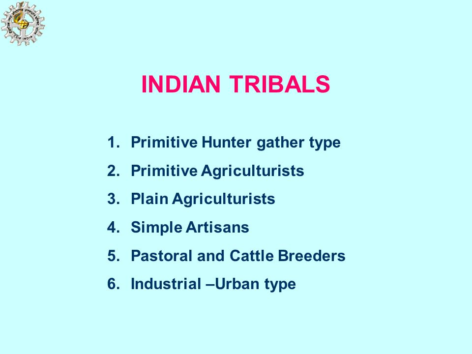 INDIAN TRIBALS 1.Primitive Hunter gather type 2.Primitive Agriculturists 3.Plain Agriculturists 4.Simple Artisans 5.Pastoral and Cattle Breeders 6.Ind