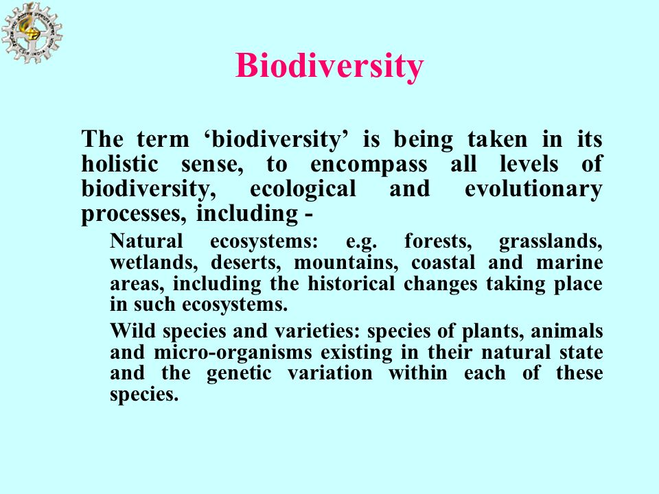 Biodiversity The term biodiversity is being taken in its holistic sense, to encompass all levels of biodiversity, ecological and evolutionary processe