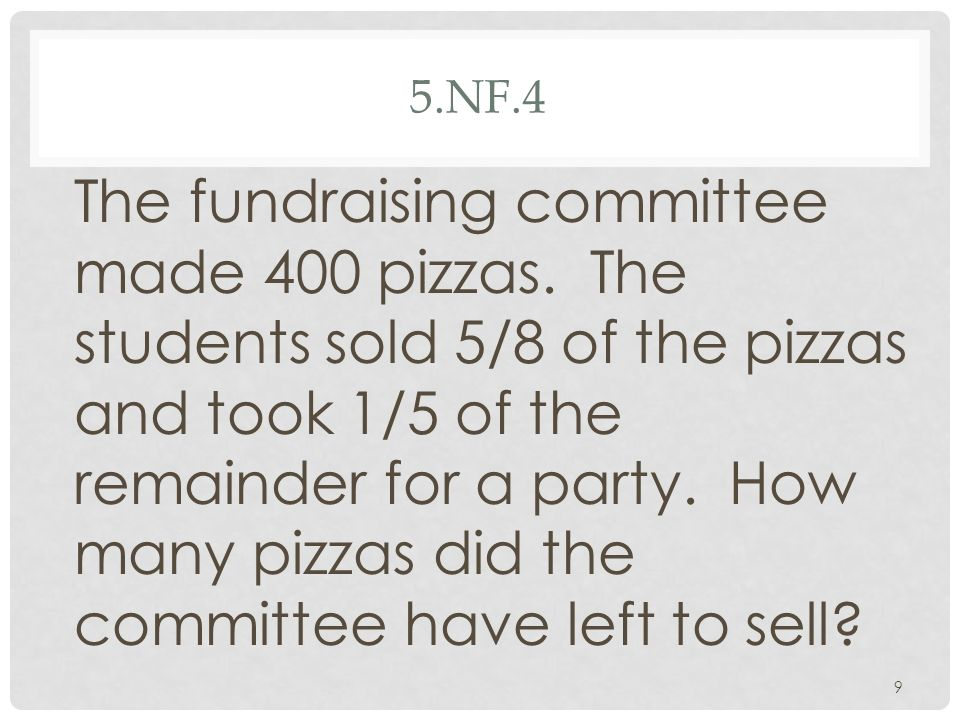5.NF.4 The fundraising committee made 400 pizzas. The students sold 5/8 of the pizzas and took 1/5 of the remainder for a party. How many pizzas did t